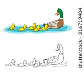 coloring book or page. mother... | Shutterstock .eps vector #316719404