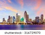 San Diego Skyline At Sunset  C...