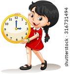 Girl holding yellow clock illustration