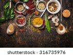 dry colorful  spices in spoons... | Shutterstock . vector #316735976
