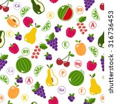 seamless pattern with fruits.... | Shutterstock . vector #316736453
