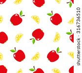 seamless pattern with fruits.... | Shutterstock . vector #316736510