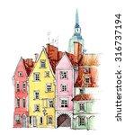 hand drawn watercolor...   Shutterstock . vector #316737194
