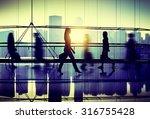 people walking commuter hallway ... | Shutterstock . vector #316755428