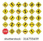 warning traffic signs vector set | Shutterstock .eps vector #316755659
