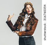 beautiful woman in golden crown ... | Shutterstock . vector #316760354