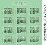 2016 calendar | Shutterstock .eps vector #316769726