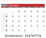 november 2016 planning calendar | Shutterstock .eps vector #316769756