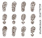 set of grunge shoe tracks. hand ... | Shutterstock .eps vector #316778759