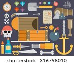 pirate accessories symbols flat ... | Shutterstock .eps vector #316798010