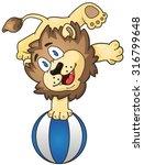 cartoon lion on the beach ball. ... | Shutterstock .eps vector #316799648