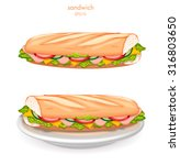 tasty sandwich  on white plate  ... | Shutterstock .eps vector #316803650