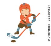 little hockey player character... | Shutterstock .eps vector #316804694