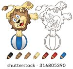 happy cartoon lion playing with ... | Shutterstock .eps vector #316805390
