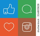 beautiful contour social icons... | Shutterstock .eps vector #316805828