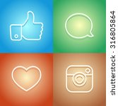 beautiful contour social icons... | Shutterstock .eps vector #316805864