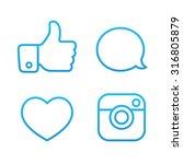 beautiful contour social icons... | Shutterstock .eps vector #316805879