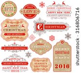 a set of elegant christmas and... | Shutterstock .eps vector #316806716