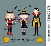 kids in halloween costume.... | Shutterstock .eps vector #316822178
