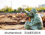 man with protective mask and... | Shutterstock . vector #316831814