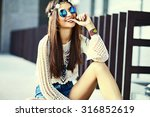 funny stylish sexy smiling... | Shutterstock . vector #316852619