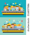 autumn city landscapes set with ... | Shutterstock .eps vector #316857086