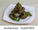 greek dolma in grape leaves... | Shutterstock . vector #316857893