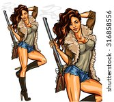 pretty pin up girl with shot... | Shutterstock .eps vector #316858556