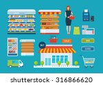 Supermarket Store Concept With...