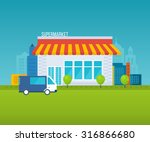 supermarket store concept with... | Shutterstock .eps vector #316866680