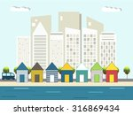 colorful beach huts  city... | Shutterstock .eps vector #316869434