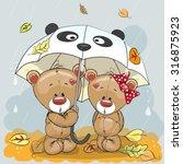Two Cute Cartoon Bears With...