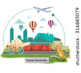 illustration. travel around... | Shutterstock .eps vector #316885079