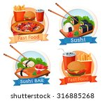 fast food  sushi  hamburger ... | Shutterstock .eps vector #316885268