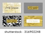 set of 4 gold and white... | Shutterstock .eps vector #316902248