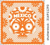 mexican cut out paper skull | Shutterstock .eps vector #316911293