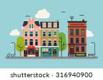 lovely colorful city downtown... | Shutterstock .eps vector #316940900