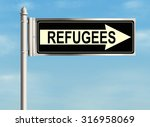 refugees. road sign on the sky... | Shutterstock . vector #316958069