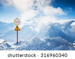 warning sign of avalanche... | Shutterstock . vector #316960340