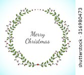 christmas floral wreath with... | Shutterstock . vector #316980473