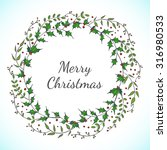 christmas floral wreath with... | Shutterstock . vector #316980533