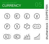 currency outline icon set  ... | Shutterstock . vector #316991984