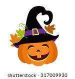 Funny Halloween Pumpkin With...