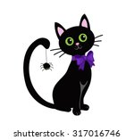 Stock vector cute black cat isolated on white background halloween 317016746