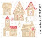 set of cute vector gingerbread... | Shutterstock .eps vector #317019923