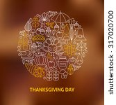 thin line thanksgiving day... | Shutterstock .eps vector #317020700