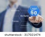 businessman touching lean six... | Shutterstock . vector #317021474