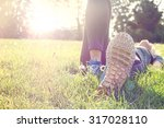 female athlete resting and... | Shutterstock . vector #317028110