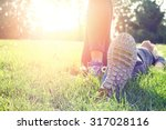 female athlete resting and... | Shutterstock . vector #317028116