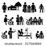elderly care nursing old folks... | Shutterstock .eps vector #317064884